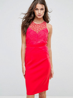 Little Mistress Embellished Pleat Bodycon Midi Dress