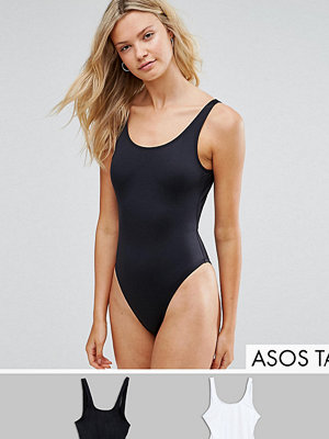 Asos Tall Scoop Front Swimsuit Multipack - Black/white