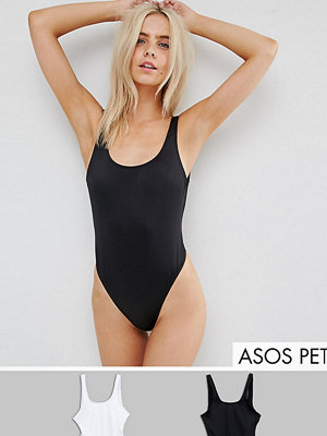ASOS Petite Scoop Front Swimsuit Multipack - Black/white