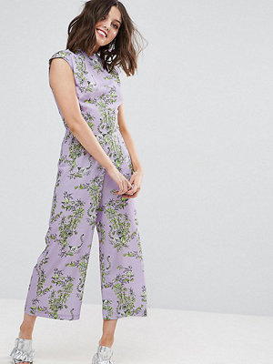 ASOS Petite Jumpsuit with High Neck and Wide Leg in Print