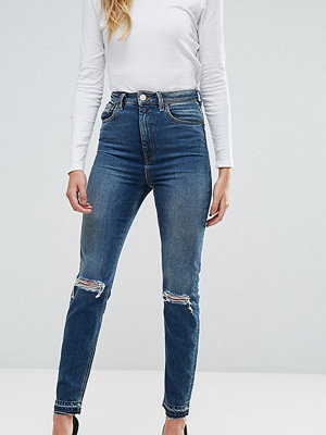 """Asos Tall """" FARLEIGH Mörkblå Jeans i """"mom jeans""""-modell med smal passform"""