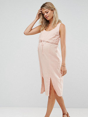 ASOS Maternity NURSING Casual Double Layer Midi Dress with Drawcord - Nude