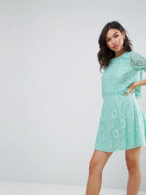 ASOS Mini Skater Dress In Lace With Crop Top Layer - Mint