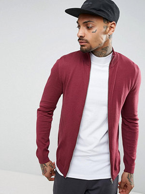 ASOS Cotton Track Jacket In Burgundy