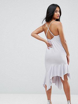 ASOS Petite Crepe Cross Back Step Hem Midi Dress