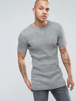 ASOS Longline Ribbed Knitted T-Shirt in Muscle Fit