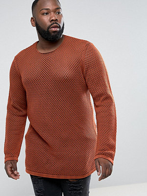 ASOS PLUS Longline Knitted Textured Mesh Jumper in Rust