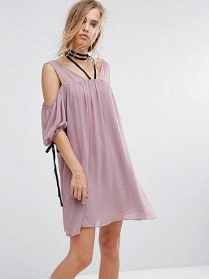 Lost Ink Cold Shoulder Dress With Choker