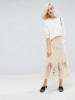 Lost Ink Midi Skirt In Mesh With Embroidery - Nude