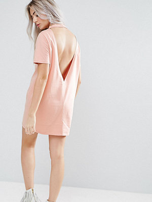ASOS Petite Open Back T-shirt Dress with V Back - Nude