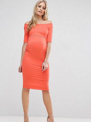 ASOS Maternity TALL Bardot Dress With Half Sleeve - Coral
