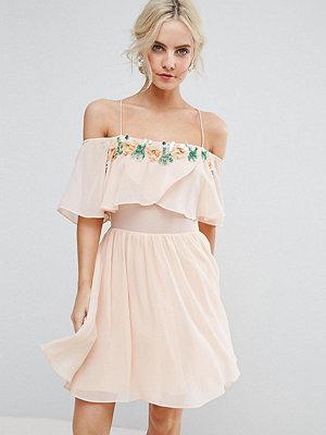 ASOS Petite Embellished Neckline Double Layer Skater Dress