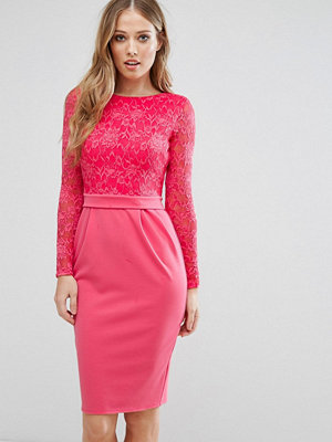 City Goddess Long Sleeve Pencil Midi Dress In Lace - Raspberry