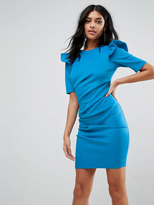 ASOS Scuba V Back Mini Dress With Shoulder Ruffle - Turquoise