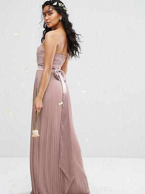 TFNC Bandeau Maxi Bridesmaid Dress with Bow Back Detail - Pale mauve