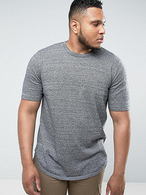 ASOS PLUS Longline T-Shirt with Curved Hem In Black & White Twist