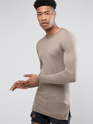 ASOS TALL Muscle Fit Longline Jumper With Side Zips In Oatmeal