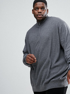 Tröjor & cardigans - Jacamo PLUS Fine Knit Jumper In Charcoal With Zip Detail