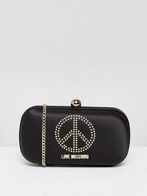 Love Moschino kuvertväska Satin Clutch Bag With Embellishment