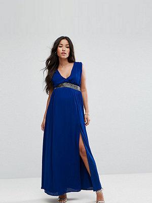 ASOS Maternity Embellished Waist Strap Back Maxi Dress - Cobalt