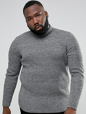 ASOS PLUS Longline Ribbed Roll Neck In Muscle Fit In Black & White Twist