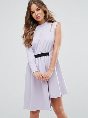 ASOS Petite One Shoulder Dress with D Ring - Lilac