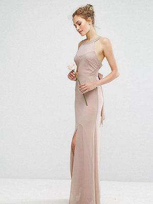 TFNC WEDDING Chiffon Maxi Dress with Tonal Embellishment and Tie Detail - Mink