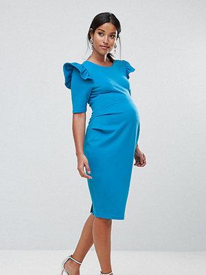 ASOS Maternity Scuba V Back Mini Dress with Shoulder Ruffle - Turquoise
