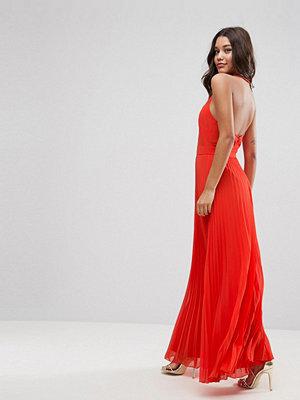 ASOS Halter Neck Pleated Maxi Dress with Open Back - Orange