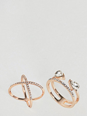 ASOS Curve Pack of 2 Fine Crystal Kiss Ring Pack - Rose gold