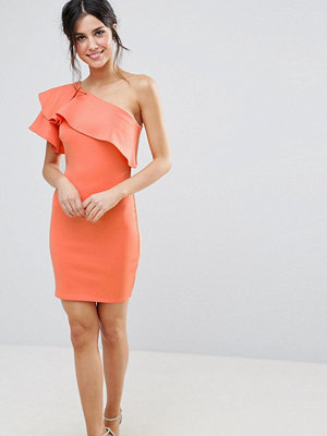 Club L One Shoulder Ruffle Detail Dress - Camellia