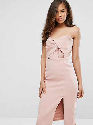 True Decadence Tall Exagerated Bow Detail Bandeau Midi Dress - Nude