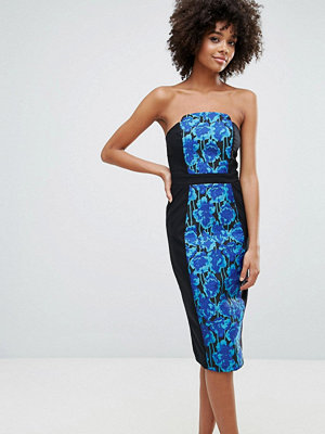 Little Mistress Jacquard Panel Bandeau Midi Dress