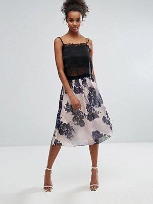 Little Mistress Sheer Floral A Line Skirt - Black/blush