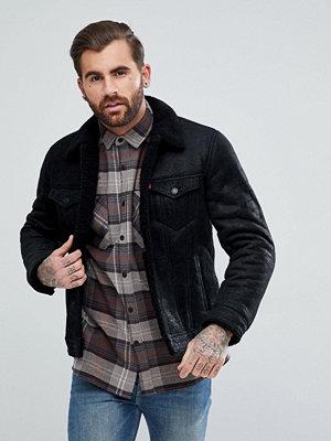 Skinnjackor - Levi's Shearling Trucker Black Leather