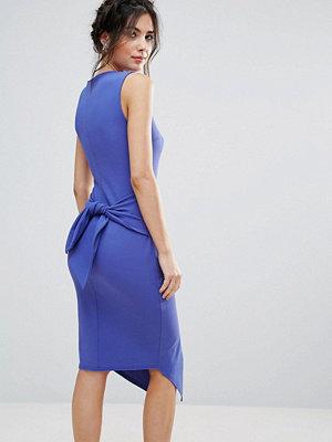 Club L Split Front Pencil Dress With Tie Back Detail - Cobalt