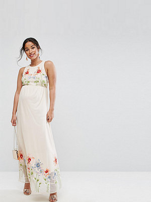 ASOS Maternity Embroidery Mesh Maxi Dress - Nude