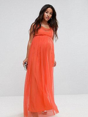 ASOS Maternity Mesh Overlay Maxi Dress - Coral