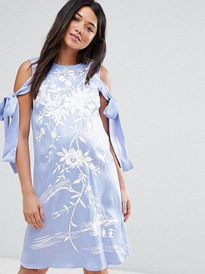 ASOS Maternity Cold Shoulder Embroidered mini dress - Blue