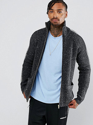 ASOS Textured Funnel Neck Jacket in Charcoal