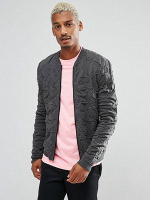 ASOS Knitted Quilted Oversized Bomber In Charcoal