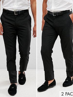 ASOS 2 Pack Skinny Smart Trousers in Black SAVE