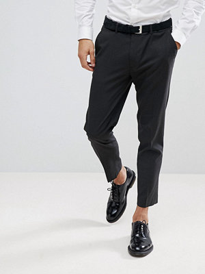 ASOS Skinny Cropped Smart Trousers In Charcoal