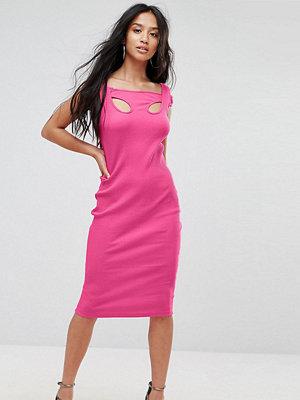 ASOS Petite Midi Strappy Bodycon Dress with Shoulder Detail in Rib