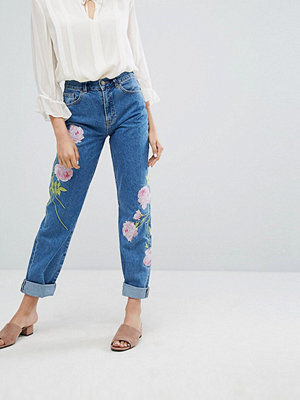 Warehouse Embroidered Jeans - Mid wash