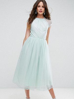 Asos Tall PREMIUM Lace Tulle Midi Prom Dress - Mint
