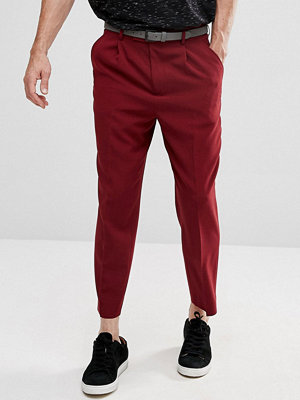 ASOS Tapered Smart Trousers With Pleats In Burgundy Cross Hatch Nep