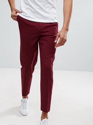 ASOS TALL Tapered Smart Trousers With Pleats In Burgundy Cross Hatch Nep
