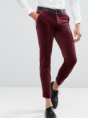 ASOS TALL Skinny Crop Smart Trousers In Burgundy Velvet