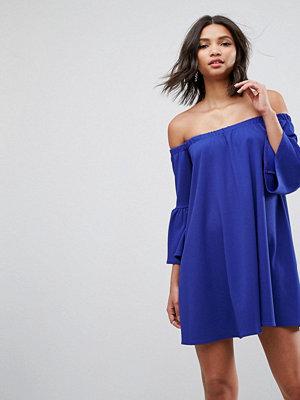 ASOS Off Shoulder Mini Dress with Bell Sleeve - Cobalt
